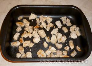 Запеканка с куриным филе и грибами