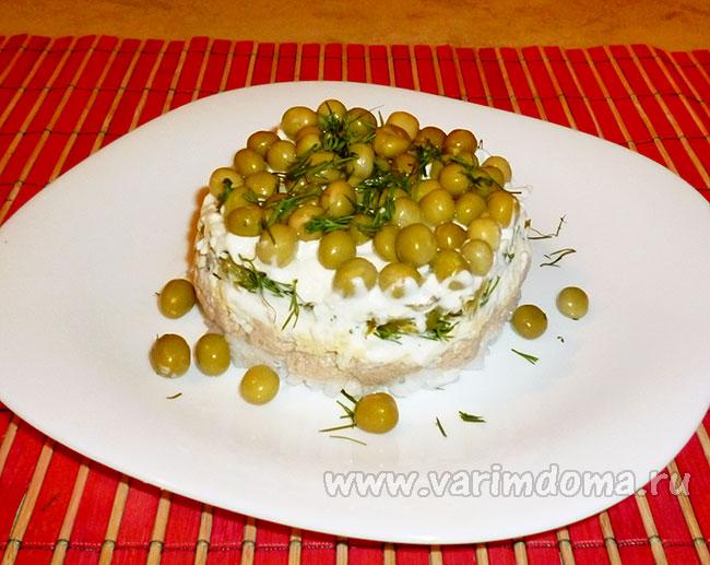 Вкусный салат из печени минтая